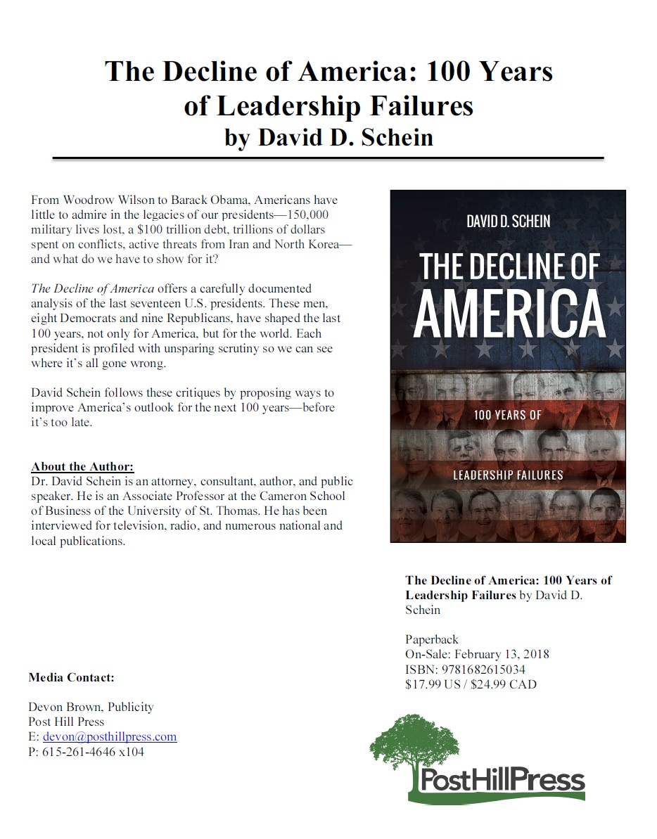 sales sheet the decline of america by david schein